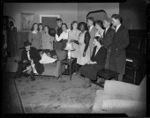 Actors Including woman in blackface on stage for production of 'Whispering Walls' by Penn High School students Pittsburgh Pennsylvania April May 1946
