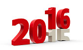 2015-2016 change represents the new year 2016, three-dimensional rendering