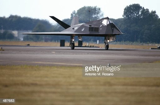 F-117A STEALTH FIGHTER ON RUNWAY