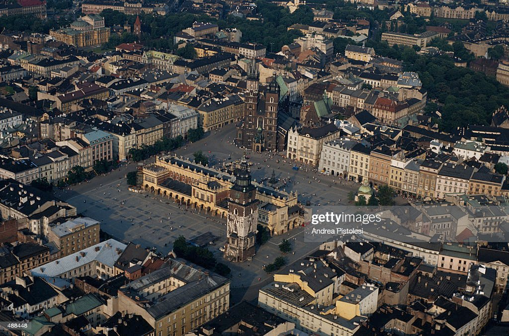 RYNEK GLOWNY SQUARE IN KRACOW, POLAND : Stock Photo