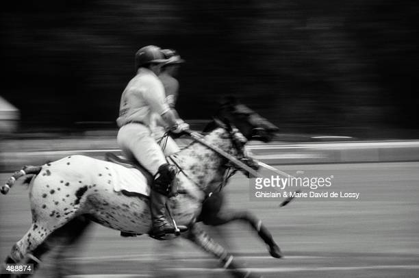 BLUR EFFECT OF HORSES WITH RIDERS IN POLO MATCH