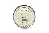 Overhead, birds eye view of a tin or can of food on a white background with a subtle shadow area grounding the product. The object has been cut out with a clipping path.