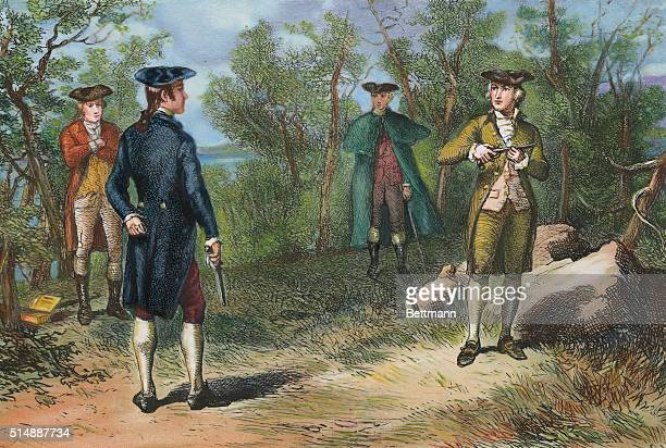 ALEXANDER HAMILTON'S DUEL WITH AARON BURR AT WEEHAWKEN NJ JULY 11 1804COLORED ENGRAVING