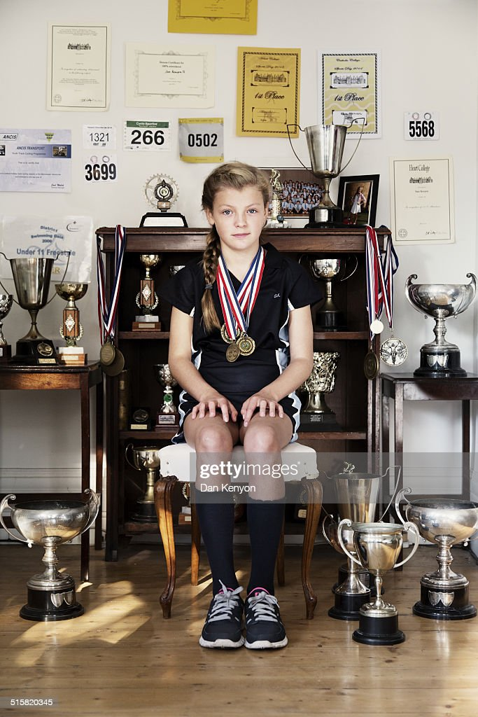 GIRL AGED 11 WITH TROPHIES
