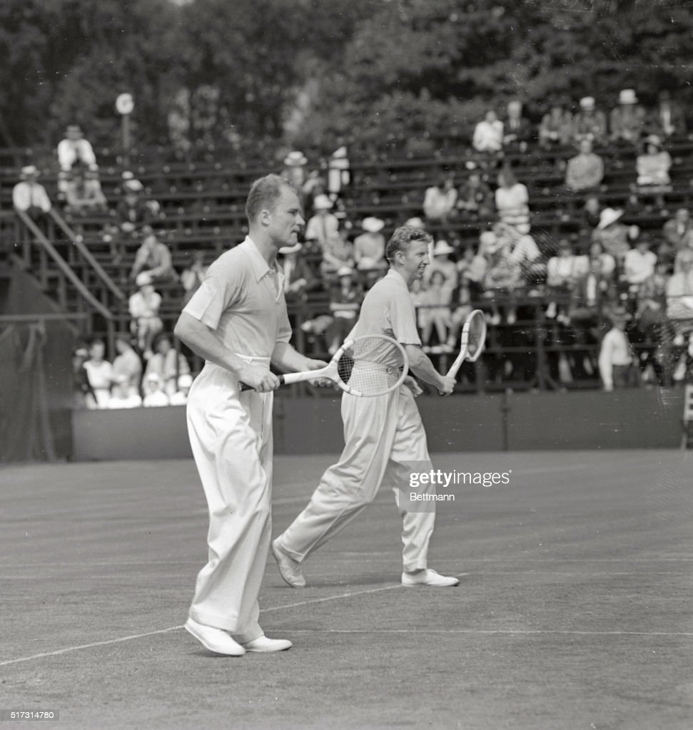 Gene Mako and Don Budge Playing Doubles Tennis