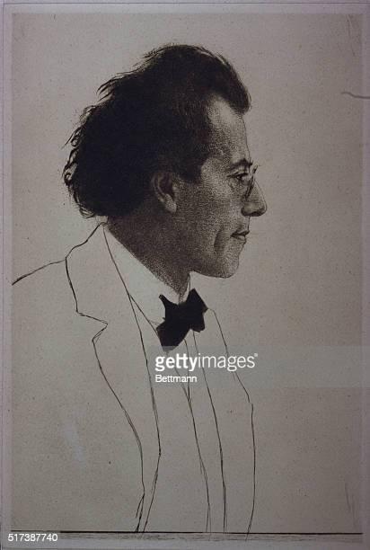 GUSTAV MAHLER 18601911 GERMAN COMPOSER CONDUCTOR UNDATED ETCHING BY EMIL ORLIK PROFILE