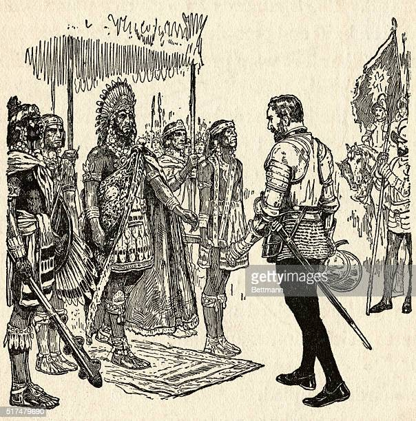 THE MEETING BETWEEN CORTES AND MONTEZUMAUNDATED ILLUSTRATION