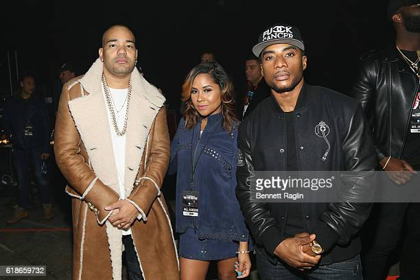 DJ Envy Angela Young and Charlamagne Tha God pose for a photo during Power 1051's Powerhouse 2016 at Barclays Center on October 27 2016 in New York...