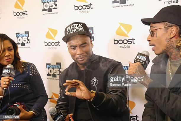 Angela Yee Charlamagne Tha God and Wiz Khalifa attend Power 1051's Powerhouse 2016 at Barclays Center on October 27 2016 in New York City