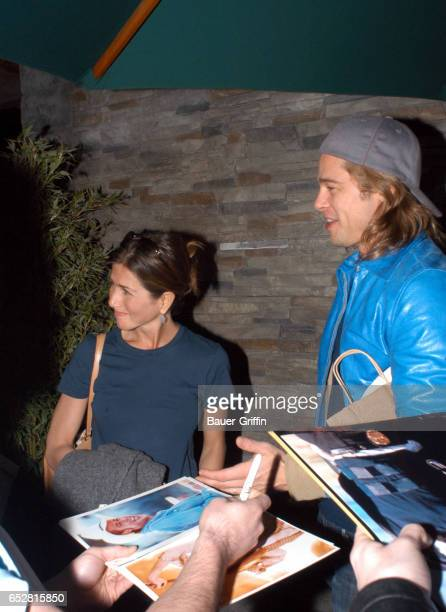 BRAD PITT AND JENNIFER ANISTON QUELL RUMORS OF AN IMPENDING SPLIT THE COUPLE SPENT A ROMANTIC DINNER AT 'SUSHI ROKU' ON 3RD STREET IN HOLLYWOOD LATER...