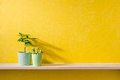黄色い壁と棚の上に小物がある部屋のイメージ