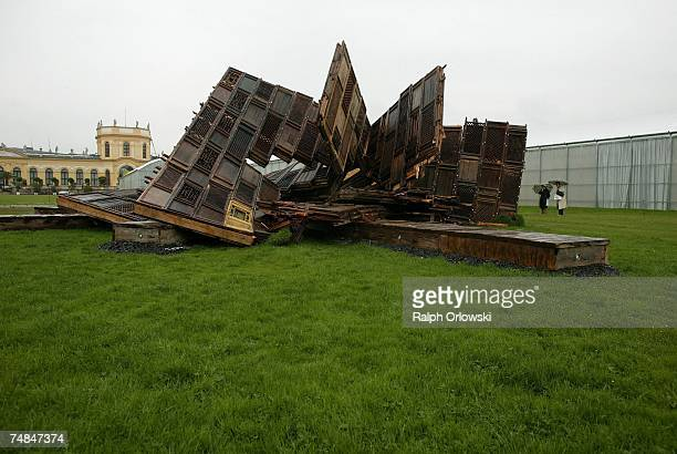 The sculpture 'Template' of Chinese Artist Ai Weiwei damaged by by a storm last night is pictured during the Documenta 12 on June 21 2007 in Kassel...