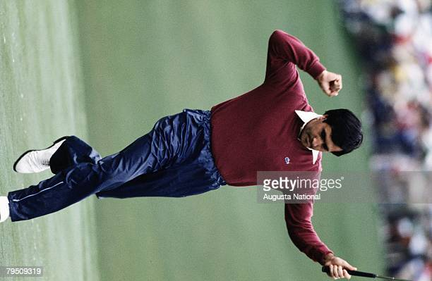 SEVE BALLESTEROS REACTS DURING THE 1983 MASTERS TOURNAMENT