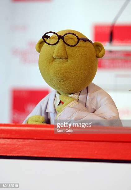 Muppet scientist Dr Bunsen Honeydew speaks during a press conference to announce the World Science Festival at NYU on April 2 2008 in New York City...