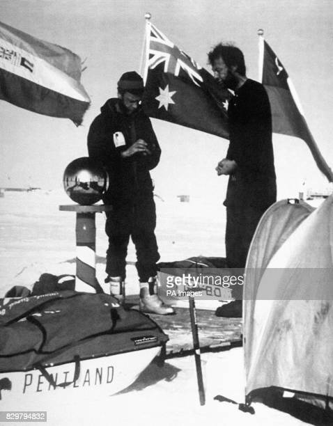 AND DR MICHAEL STROUD AT THE SOUTH POLE DURING THEIR BID TO MAKE THE FIRST CROSSING OF ANTARCTICA BY FOOT