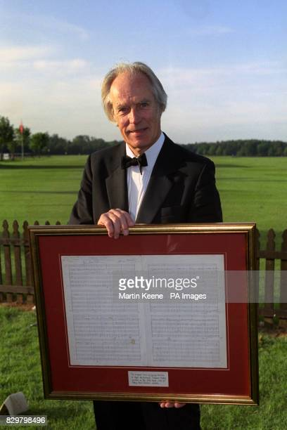 S TRUST ROYAL ENGLISH SUMMER BANQUET AT SMITH'S LAWN HE IS HOLDING THE ORIGINAL SCORE OF THE SONG ELEANOR RIGBY