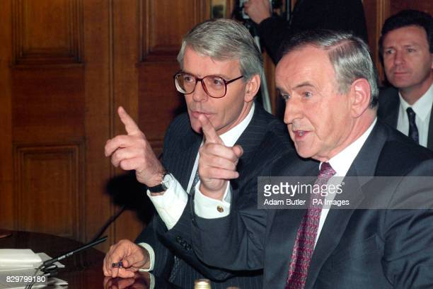 AND HIS IRISH COUNTERPART ALBERT REYNOLDS DURING NEWS CONFERENCE AT 10 DOWNING STREET