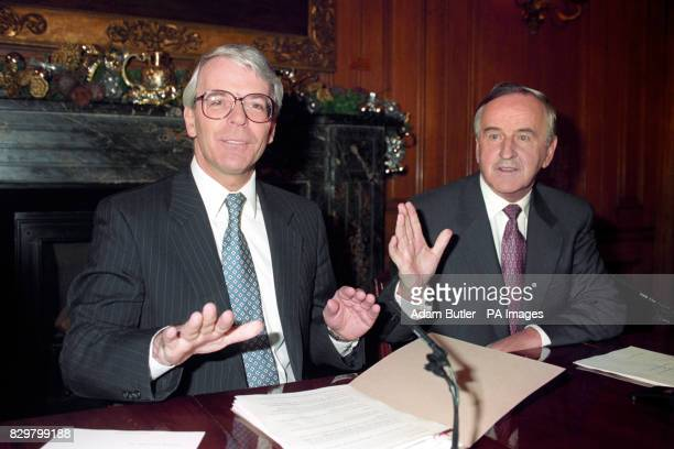 HIS IRISH COUNTERPART ALBERT REYNOLDS DURING THE NEWS CONFERENCE AT 10 DOWNING STREET