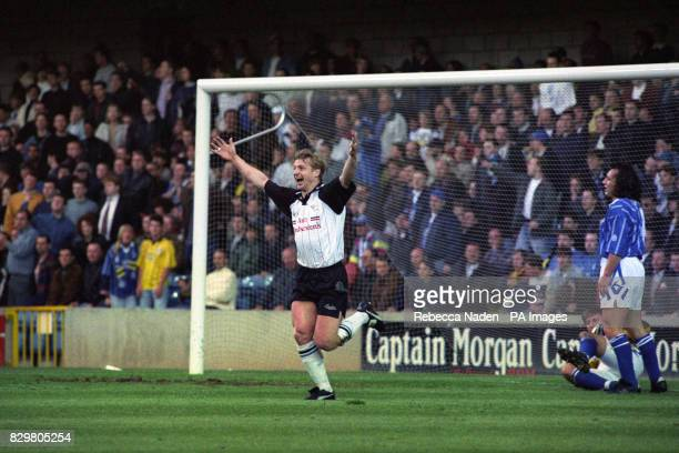 S FIRST GOAL DURING THE ENDSLEIGH INSURANCE LEAGUE PLAYOFF MATCH AGAINST MILLWALL AT THE NEW DEN DERBY WON 31 AFTER A PITCH INVASION HALTED THE MATCH...