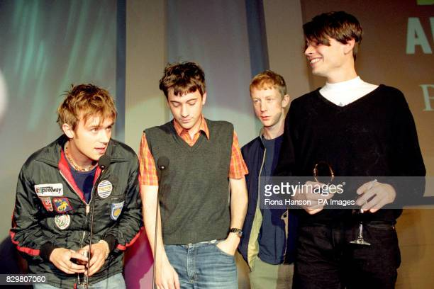 FOR 'PARKLIFE' AT THE PARK LANE HOTEL IN LONDON LEAD SINGER DAMON ALBARN GUITARIST GRAHAM COXON DRUMMER DAVID ROWNTREE AND BASS PLAYER ALEX JAMES