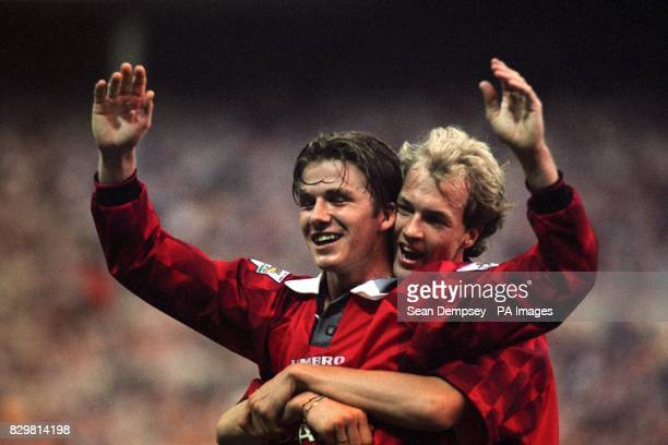 S DAVID BECKHAM CELEBRATES HIS GOAL AGAINST NEWCASTLE WITH TEAMMATE JORDI CRUYFF DURING THE CHARITY SHIELD AT WEMBLEY AGAINST NEWCASTLE