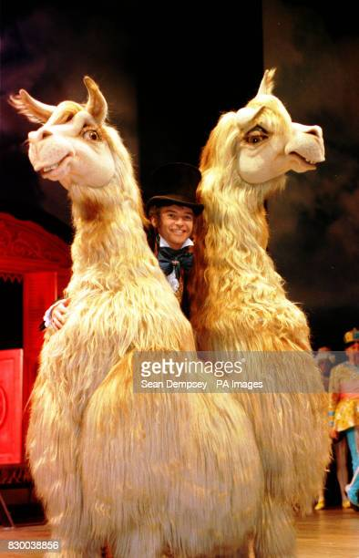 CREATURE 'PUSHMIPULLYU' ON STAGE WITH PHILLIP SCHOFIELD WHO PLAYS THE TITLE ROLE IN THE NEW PRODUCTION OF THE CLASSIC STORY 'DR DOLITTLE' SHOWING AT...