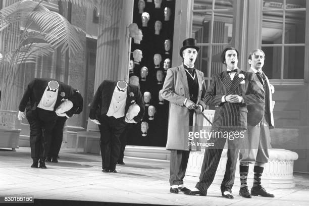 RICHARD VAN ALLEN AS POOHBAH ERIC IDLE AS KOKO AND MARK RICHARDSON AS PISHTUSH IN A DRESS REHEARSAL FOR THE ENGLISH NATIONAL OPERA'S PRODUCTION OF...