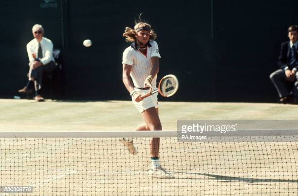 S BJORN BORG IN ACTION AT WIMBLEDON THIS AFTERNOON URING HIS MEN'S SINGLES SEMIFINAL CLASH AT ROSCOE TANNER BORG WON THE MATCH 64 98 64 AND WENT ON...