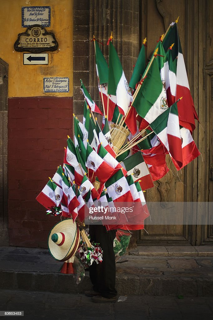 MEXICAN FLAG SELLER : Stock Photo
