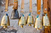 Rhodope brass sheep bells in village of Shiroka Laka, Bulgaria.
