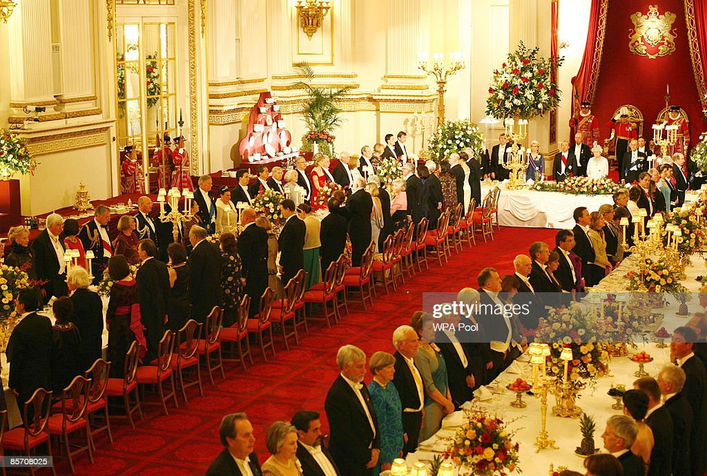 A general view of guests during the state banquet hosted by Queen Elizabeth II in honour of visiting President of Mexico Felipe Calderon inside the Ballroom at Buckingham Palace on March 30, 2009 in London, England. President of the United Mexican States Felipe Calderon and his wife Margarita Zavala de Calderon are on a four-day state visit to the United Kingdom from March 30 - April 2.