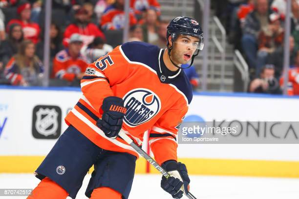 Edmonton Oilers Defenceman Darnell Nurse stakes up ice during the Edmonton Oilers game versus the Detroit Red Wings at Rogers Place in EDMONTON AB...