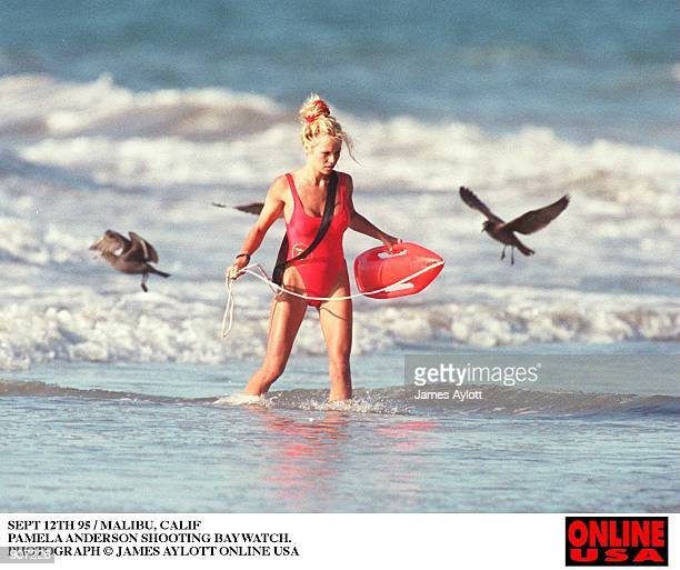 SEPT 12TH 95 HOLLYWOOD CALIF PAMELA ANDERSON SHOOTING BAYWATCH
