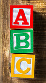 ABC letters in wooden alphabet blocks from above
