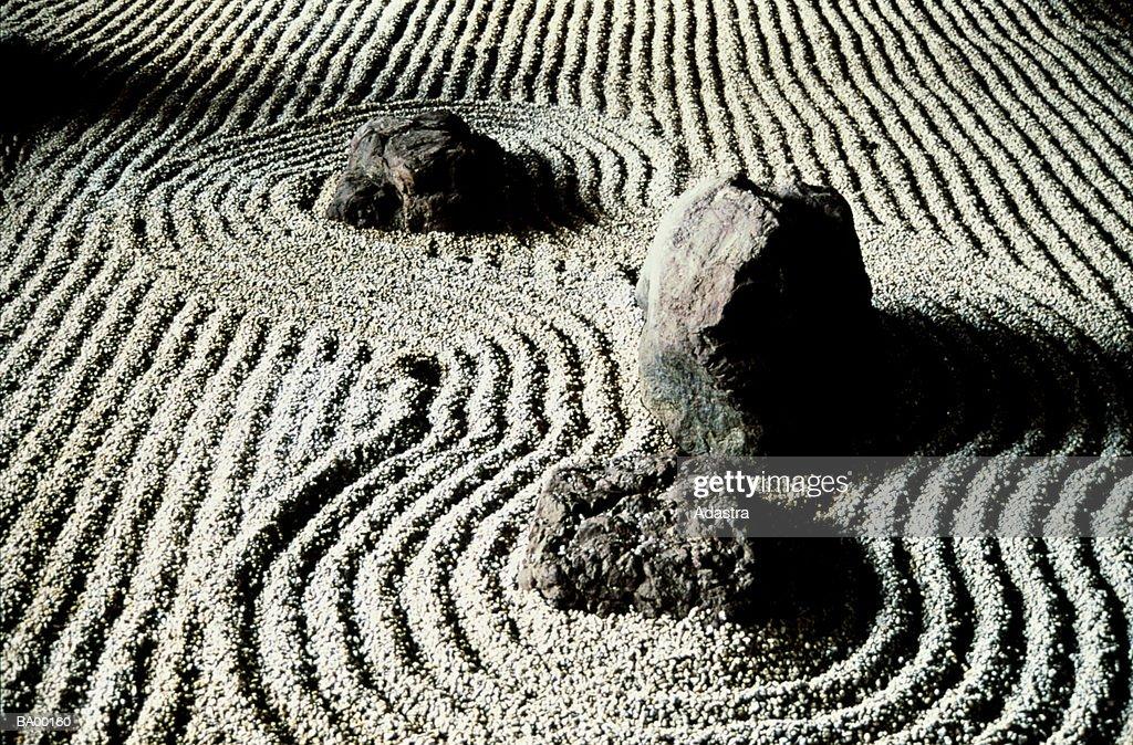 STUDY OF ROCKS IN A ZEN GARDEN / JAPAN : Stock Photo