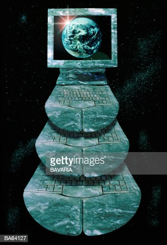 COMPUTER AND KEYBOARDS IN MARBLE WORLD GLOBE ON SCREEN : Stock Photo