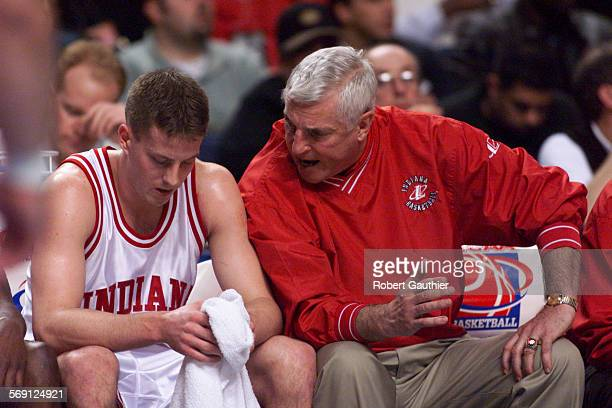 SP0317pep2RG ––Indiana coach Bobby Knight yells at Dane Fife during a bad first half against Pepperdine at the first round NCAA tournament game in...