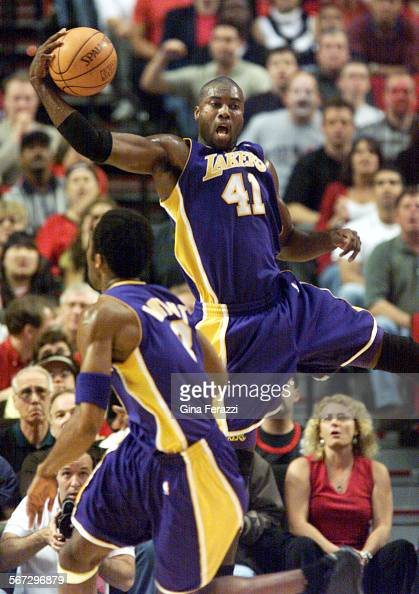 SP0526lakers4GF–Lakers Glen Rice grabs one of his 7 defensive rebounds in Game 4 of the Western Conference Finals at the Rose Garden in Portland...