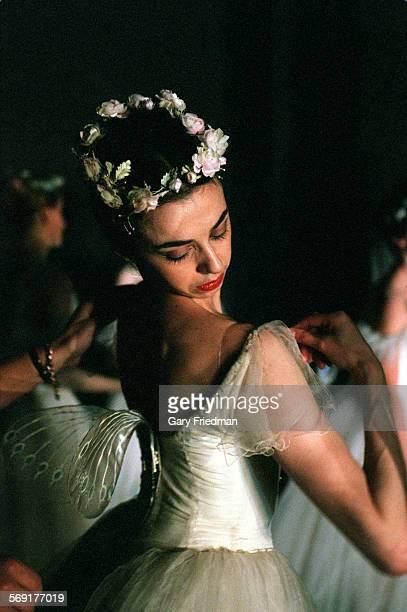 CA0525nina42gf Ballerina Nina Ananiashvili of the Bolshoi Ballet fixing her ballet dress during a perfoprmance as she makes an appearance with the...
