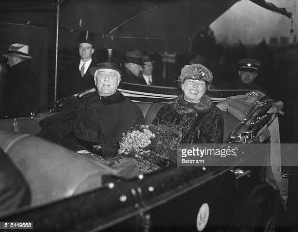 Washington DC Following his second inauguration as President of the United States President Franklin D Roosevelt is shown with Mrs Roosevelt as they...