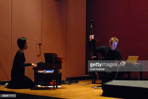 MALIBU CA Cellist Johannes Moser and pianist Phyllis Chen prepare for a Sunday afternoon performance of a selection of Stockhausen's Tierkreis at...