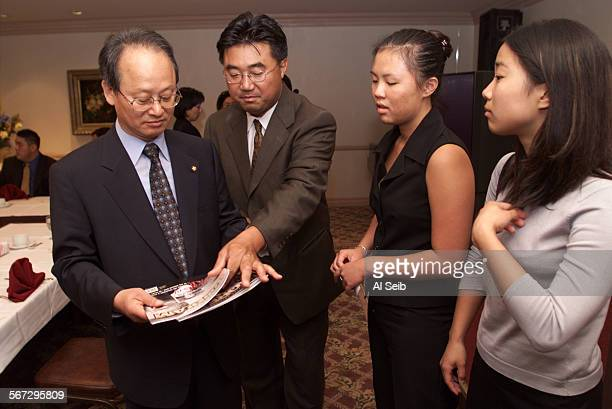 ME0728link1AS Bu–Young Lee visits with Charles J Kim Exec Director of Korean American Coalition and 2 interns at KAC Jessica Jung 19 a student at...