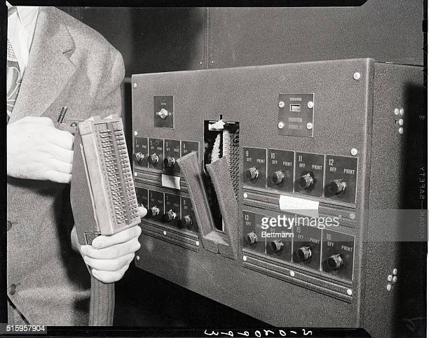 02/02/46PhiladelphiaPA The ENIAC the first computer addingmachine demostration Photo shows plugging in the connection to the card punch which...