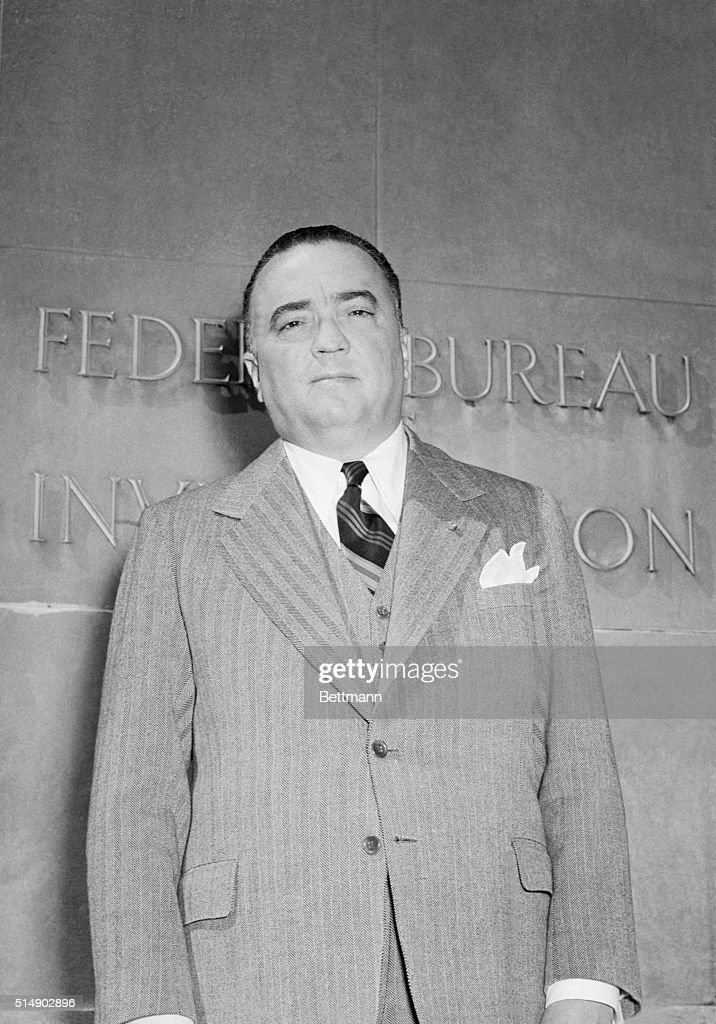 Portrait of Federal Bureau of Investigation Director <a gi-track='captionPersonalityLinkClicked' href=/galleries/search?phrase=J.+Edgar+Hoover&family=editorial&specificpeople=93559 ng-click='$event.stopPropagation()'>J. Edgar Hoover</a> outside the FBI building in Washington. Hoover recently told a closed session of the Joint Atomic Energy Committee what he knows about the operations of Dr. Klaus Fuchs, who is under arrest in London for divulging atomic secrets to Russia. Director Hoover also charted a system to guard against further 'leaks' of U.S. atomic secrets.