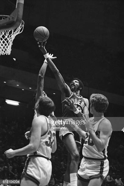 Connie Hawkins Phoenix Suns scores against Philadelphia Seen in this photograph in the air ball leaving his hand on a lay up