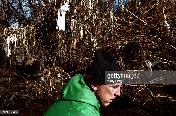 ME0126lewis1WS Lewis McAdams founder of Friends of the LA River ckecks the trash situation along the LA River north of Downtown Los Angeles after a...