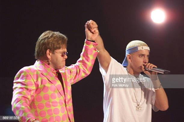 EminemJohn1km –– Elton John and Eminem at the 43rd Grammy Award Show held at Staples Center Wednesday Feb 21 2001