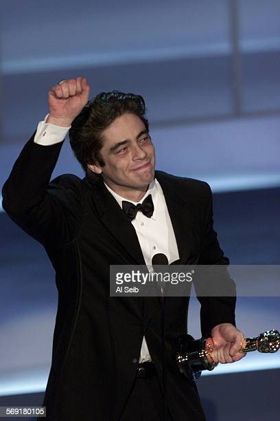 0266820325osc13as05 –– Benicio Del Toro wins the award for Best Supporting Actor at the 73rd Academy Awards at the Shrine Auditorium in Los Angeles...