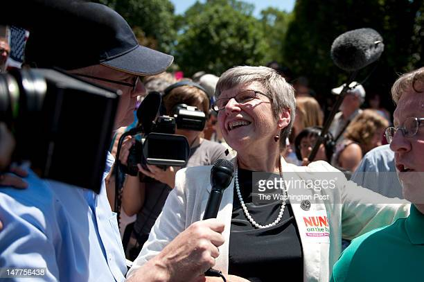 WASHINGTON DC JULY 02Sister Simone Campbell speaking with the media after wrapping up a ninestate bus tour and finishing a rally in Washington DC on...