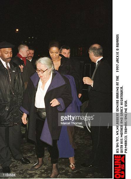 Robert DeNiro arriving at the 1997 Jackie O awards with his mother and girlfriend Grace Hightower